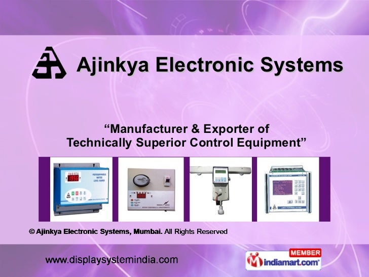 """Ajinkya Electronic Systems """" Manufacturer & Exporter of Technically Superior Control Equipment"""""""