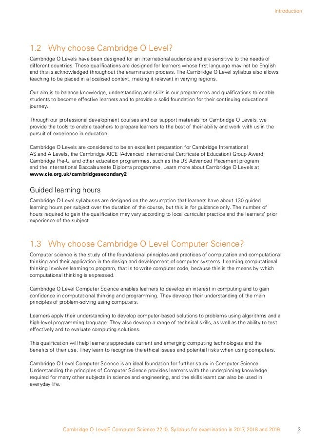 Cambridge olevel computing coursework College paper Sample - June