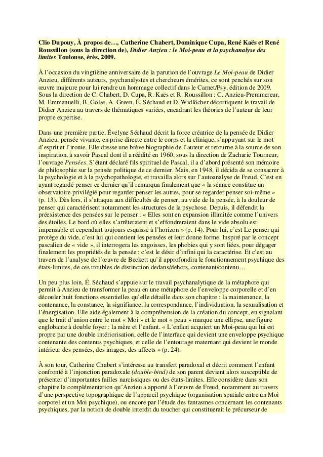 Clio Dupouy, À propos de…, Catherine Chabert, Dominique Cupa, René Kaës et René  Roussillon (sous la direction de), Didier...