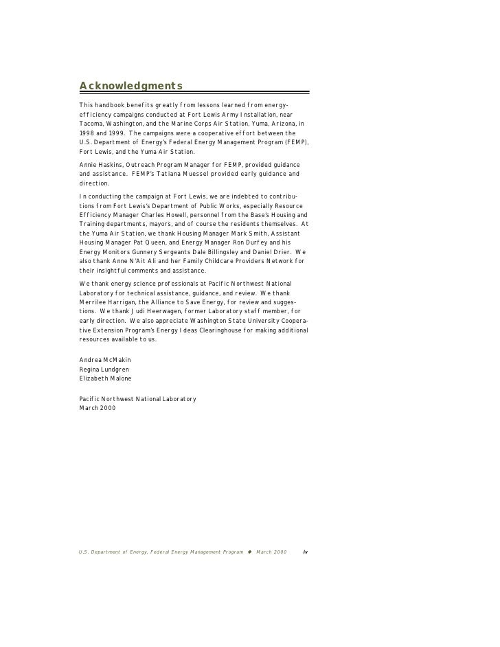 Acknowledgments  This handbook benefits greatly from lessons learned from energy- efficiency campaigns conducted at Fort L...