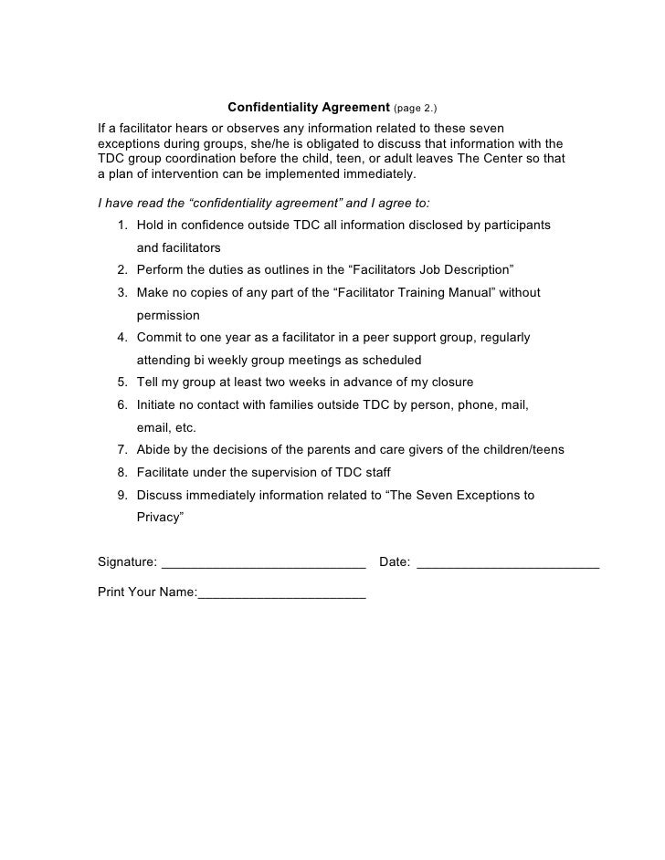 Confidentiality Agreement Template For Group Counseling