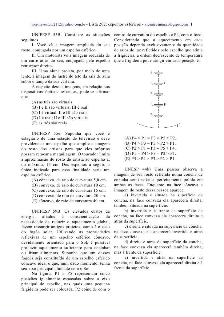 vicenteventura2112@yahoo.com.br   - Lista 202: espelhos esféricos - vicenteventura.blogspot.com 1        UNIFESP 55B. Cons...