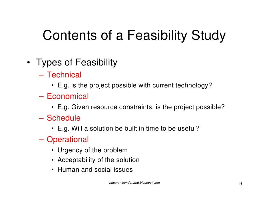 Definition feasibility study types