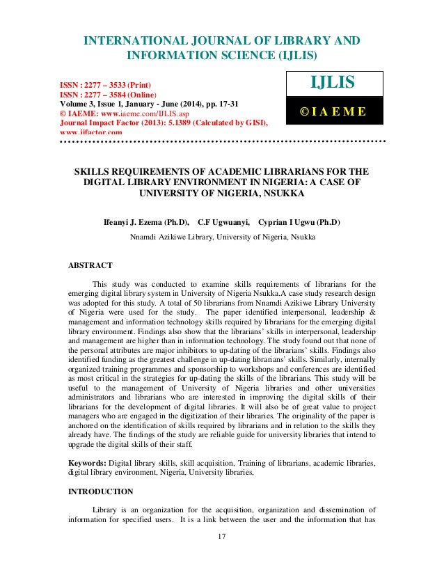 International Journal of Library and Information Science (IJLIS), ISSN: 2277 – 3533 (Print), ISSN: 2277 – 3584 (Online), V...