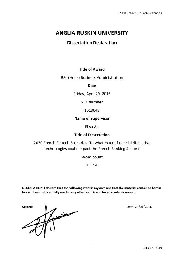 anglia ruskin dissertation declaration