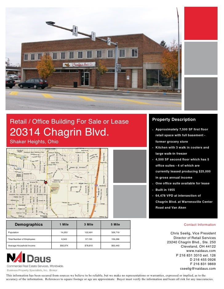 Property Description   Retail / Office Building For Sale or Lease   20314 Chagrin Blvd.                                    ...