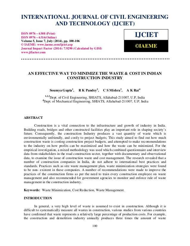 INTERNATIONAL JOURNAL OF CIVIL ENGINEERING  International Journal of Civil Engineering and Technology (IJCIET), ISSN 0976 ...