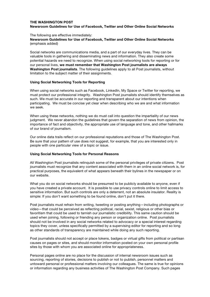 THE WASHINGTON POST Newsroom Guidelines for Use of Facebook, Twitter and Other Online Social Networks  The following are e...