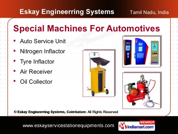 Eskay Engineerring Systems   Tamil Nadu, IndiaSpecial Machines For Automotives Auto Service Unit Nitrogen Inflactor Tyr...