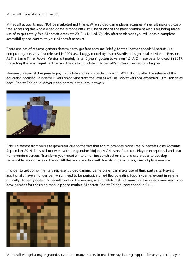 The Evolution Of Minecraft Account Free