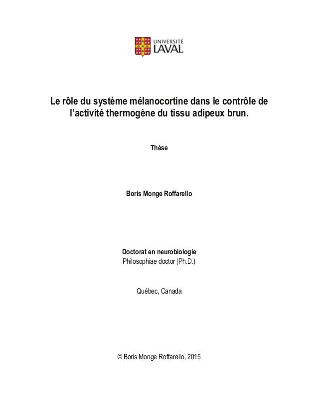 I Le rôle du système mélanocortine dans le contrôle de l'activité thermogène du tissu adipeux brun. Thèse Boris Monge Roff...