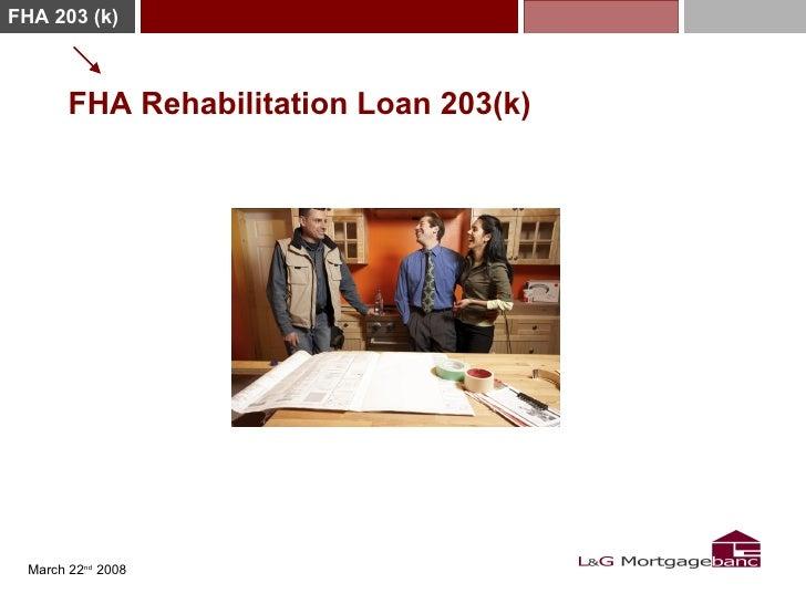 FHA 203 (k)            FHA Rehabilitation Loan 203(k)       March 22nd 2008