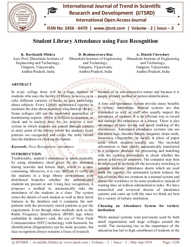Student Library Attendance using Face Recognition