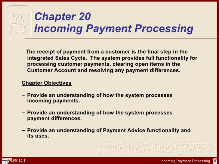 <ul><li>The receipt of payment from a customer is the final step in the integrated Sales Cycle.  The system provides full ...