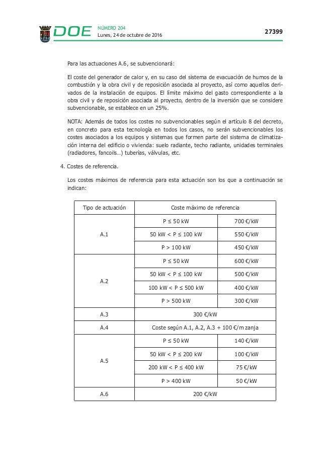 Lunes, 24 de octubre de 2016 27399 NÚMERO 204 Para las actuaciones A.6, se subvencionará: El coste del generador de calor ...