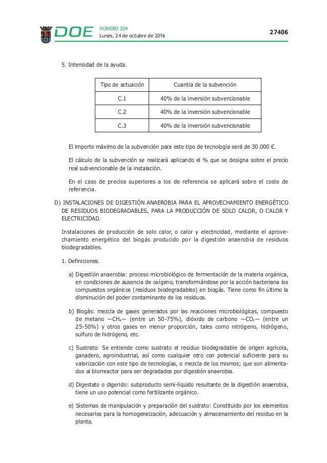 Lunes, 24 de octubre de 2016 27406 NÚMERO 204 5. Intensidad de la ayuda. Tipo de actuación Cuantía de la subvención C.1 40...