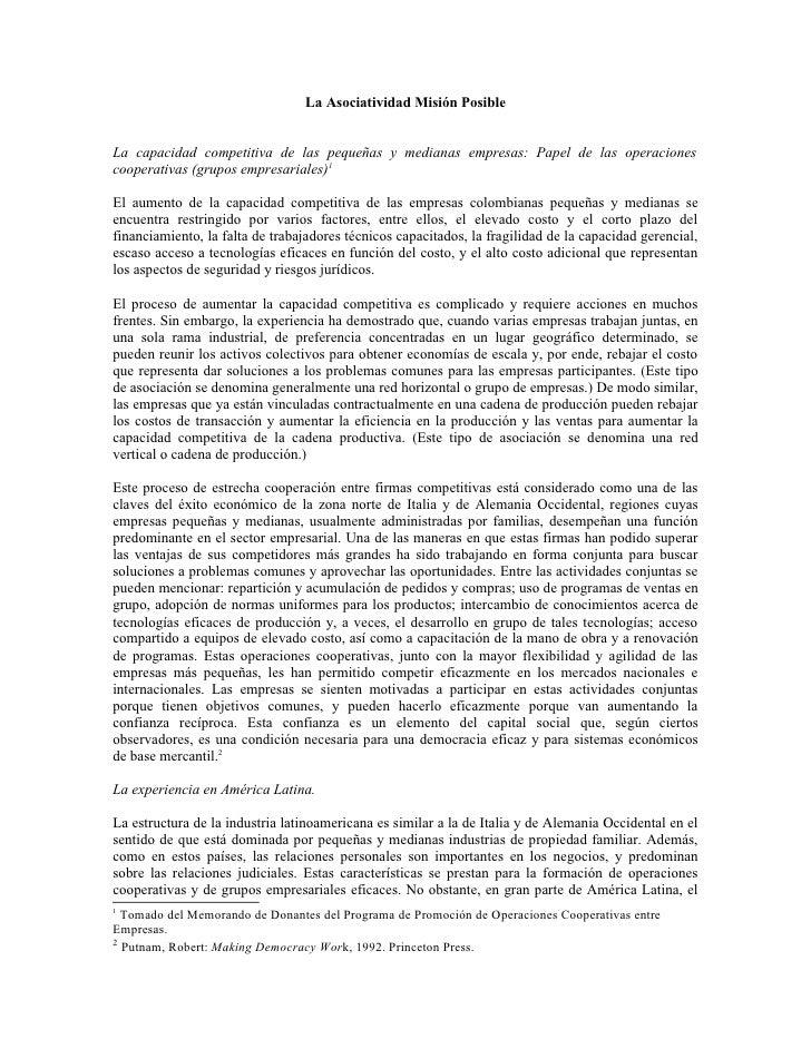 La Asociatividad Misión PosibleLa capacidad competitiva de las pequeñas y medianas empresas: Papel de las operacionescoope...