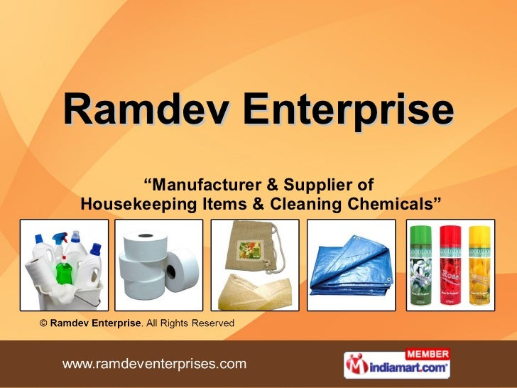 "Ramdev Enterprise "" Manufacturer & Supplier of  Housekeeping Items & Cleaning Chemicals"""
