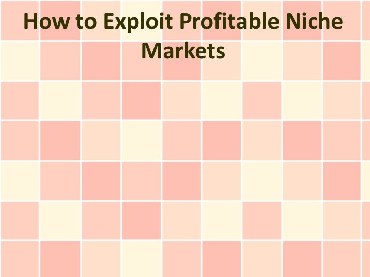 How to Exploit Profitable Niche          Markets