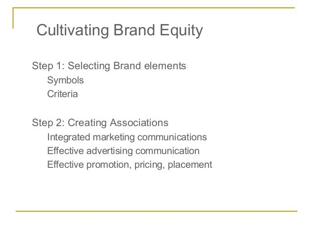 Cultivating Brand EquityStep 1: Selecting Brand elements   Symbols   CriteriaStep 2: Creating Associations   Integrated ma...