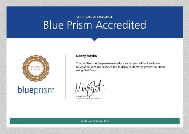 Blue Prism Developer Accreditation Certificate - Danny
