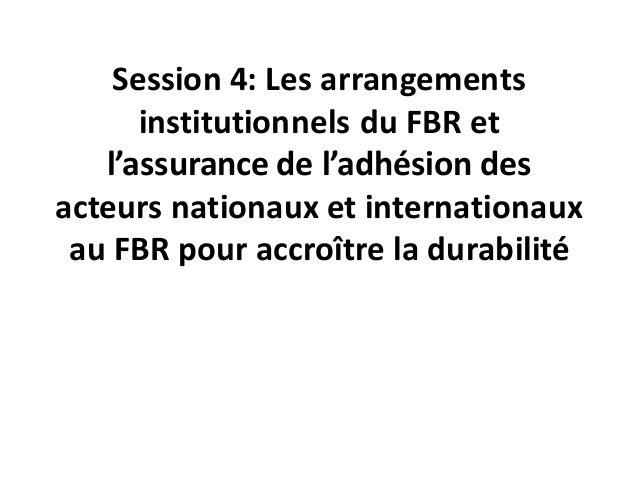 Session 4: Les arrangements institutionnels du FBR et l'assurance de l'adhésion des acteurs nationaux et internationaux au...