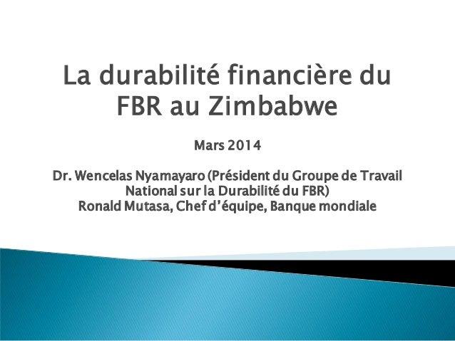 La durabilité financière du FBR au Zimbabwe Mars 2014 Dr. Wencelas Nyamayaro (Président du Groupe de Travail National sur ...
