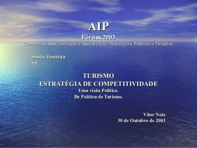 AIPAIP Fórum 2003Fórum 2003 Competitividade, Inovação e Qualificação: Estratégias, Políticas e DesafiosCompetitividade, In...