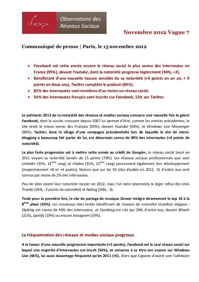 Novembre 2012 Vague 7Communiqué de presse | Paris, le 15 novembre 2012    Facebook est cette année encore le réseau socia...