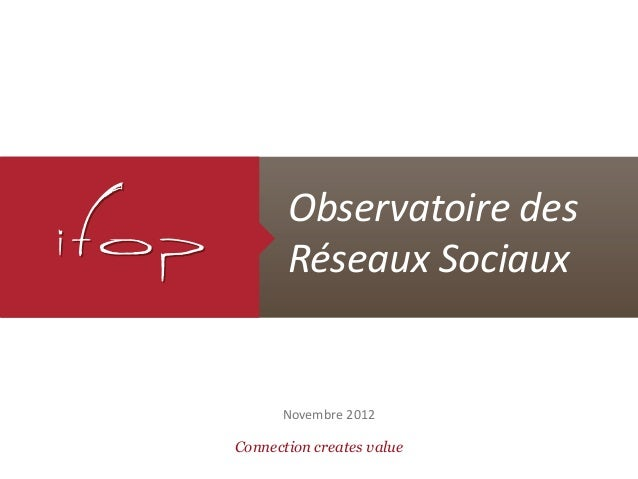 Observatoire des       Réseaux Sociaux      Novembre 2012Connection creates value