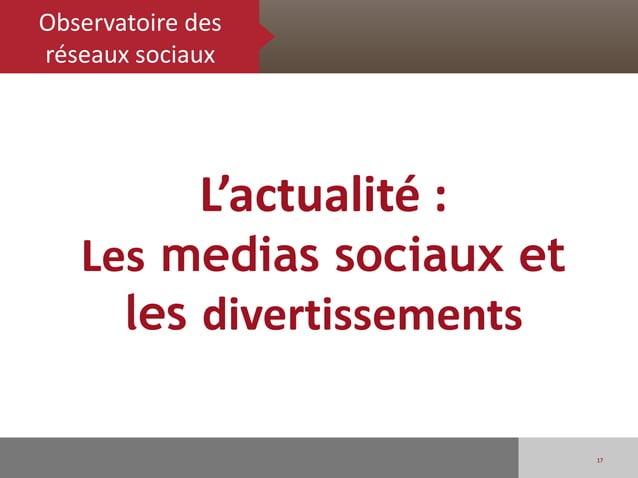 Observatoire desréseaux sociaux              L'actualité :   Les medias sociaux et     les divertissements                ...