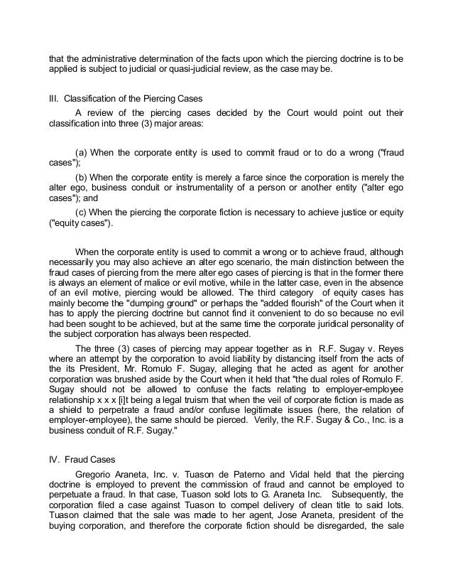 doctrine of piercing the veil of The corporate veil doctrine revisited: a comparative study of the english and the us corporate veil doctrines thomas k cheng abstract: this article undertakes a comparative study of corporate veil piercing doctrines under us corporation and english company law.