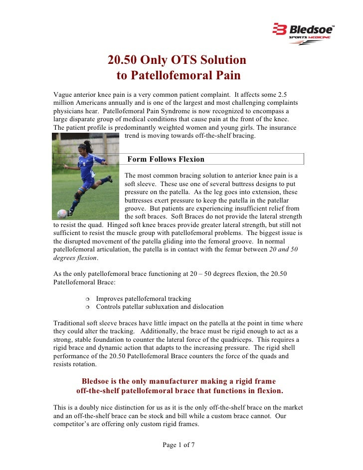 20.50 Only OTS Solution                    to Patellofemoral PainVague anterior knee pain is a very common patient complai...