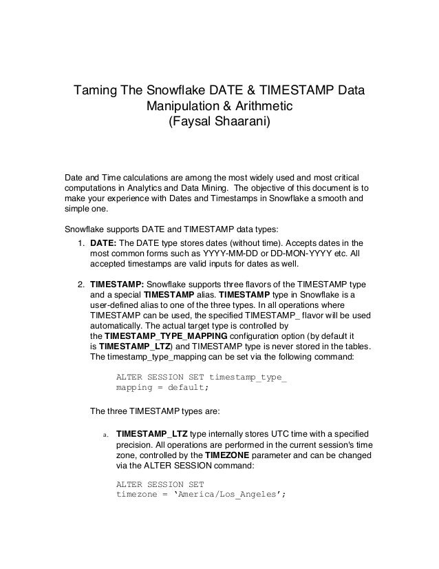 Date and Timestamp Types In Snowflake (By Faysal Shaarani)