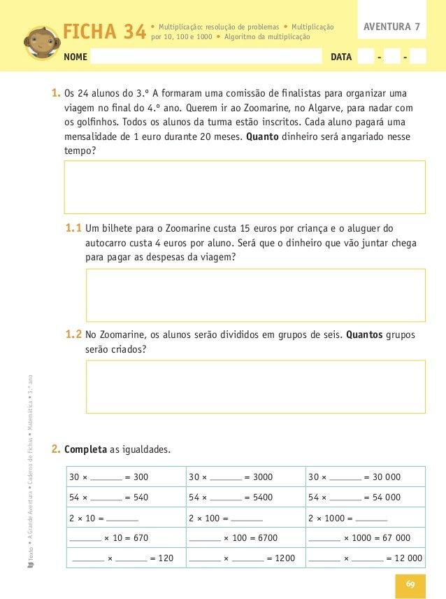Matematica 3 A Grande Aventura Caderno De Fichas