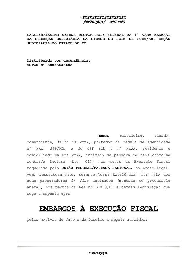 2053 Prática Jurídica Ii Modelo Embargos à Execução