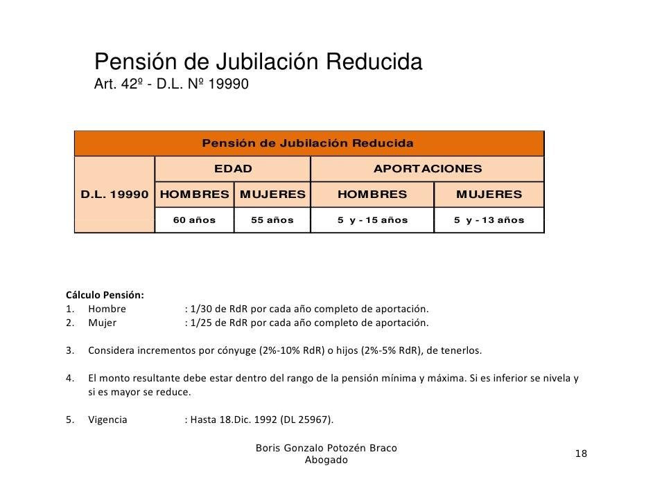 Pensión de Jubilación Reducida       Art. 42º - D.L. Nº 19990                              Pensión de Jubilación Reducida ...