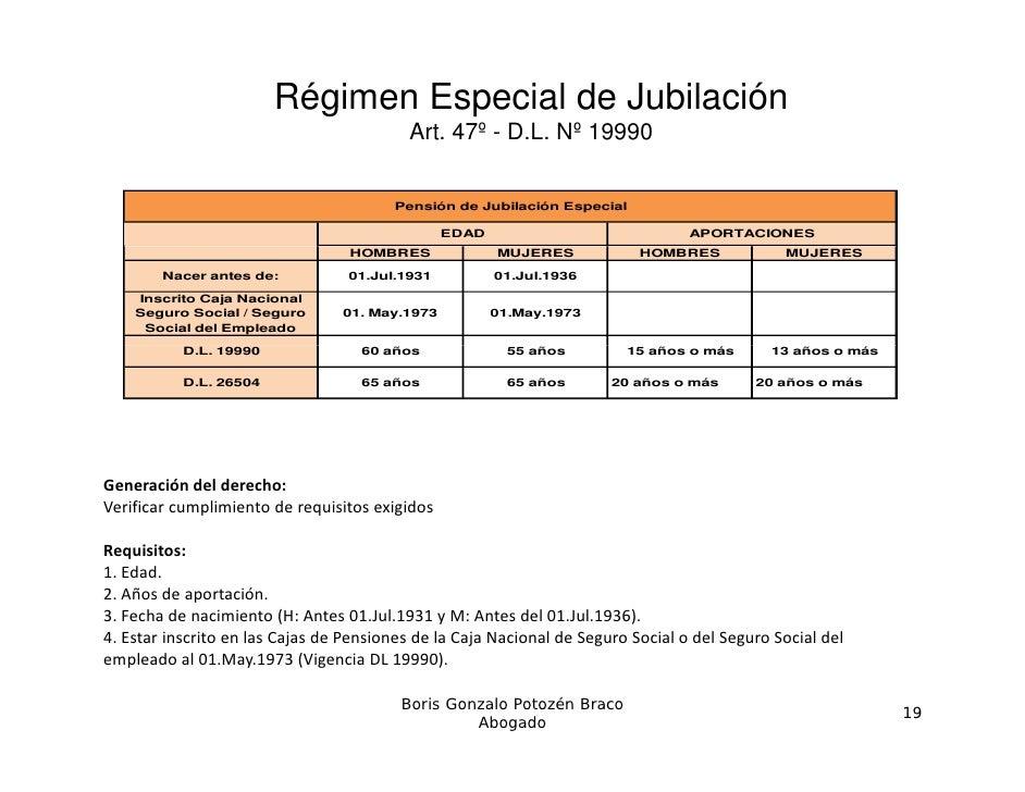 Régimen Especial de Jubilación                                           Art. 47º - D.L. Nº 19990                         ...