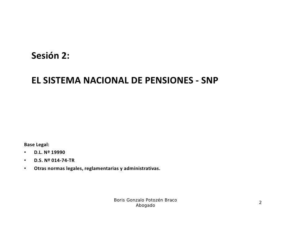 El Sistema Nacional de Pensiones - SNP. Slide 2