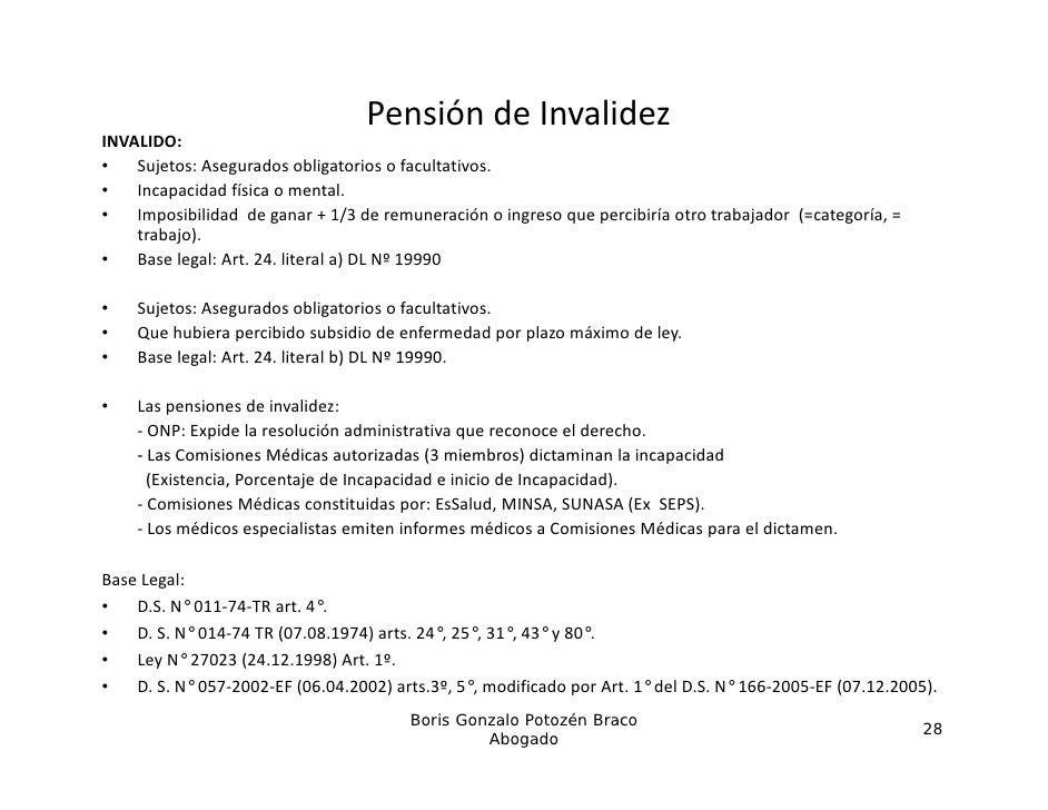 PensióndeInvalidezINVALIDO:•   Sujetos:Aseguradosobligatoriosofacultativos.•   Incapacidadfísicaomental.•   Impo...