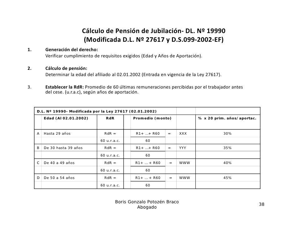 CálculodePensióndeJubilación‐ DL.Nº19990                            (ModificadaD.L.N 27617 y D.S.099‐2002‐EF)    ...