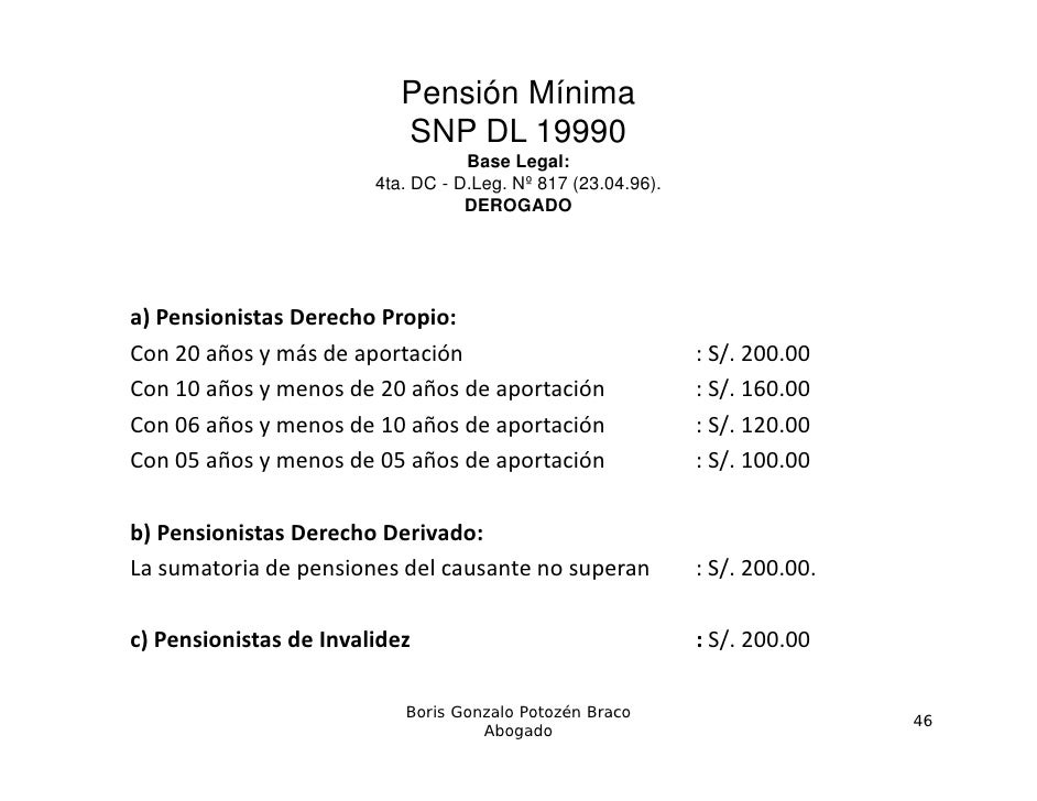 Pensión Mínima                           SNP DL 19990                                   Base Legal:                       ...