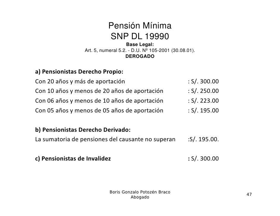 Pensión Mínima                            SNP DL 19990                                      Base Legal:                  A...