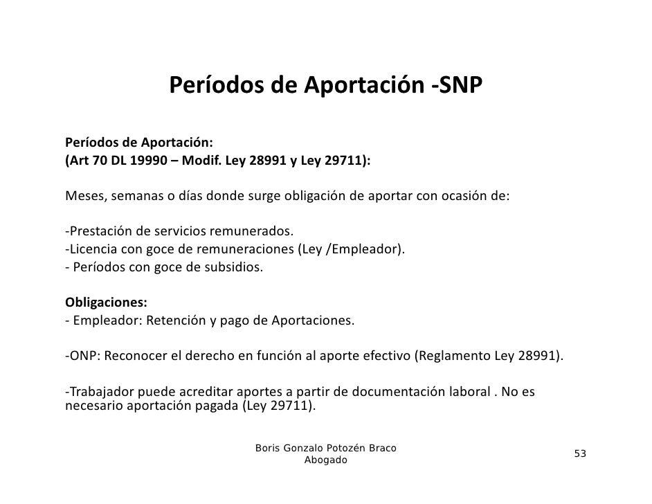 PeríodosdeAportación SNP                 Períodos de Aportación ‐SNPPeríodosdeAportación:(Art70DL19990– Modif.Le...