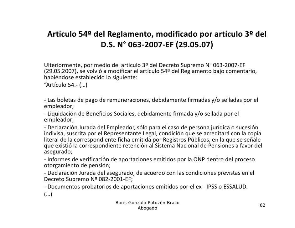 Artículo54ºdelReglamento,modificadoporartículo3ºdel                D.S.N° 063‐2007‐EF(29.05.07)                ...