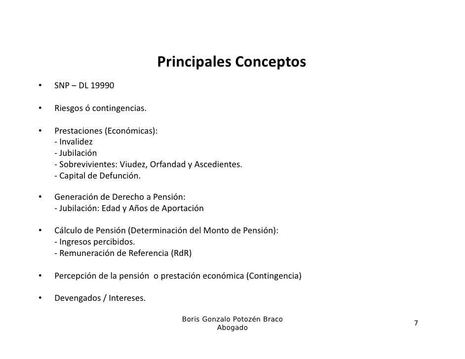 PrincipalesConceptos                               Principales Conceptos•   SNP– DL19990•   Riesgosócontingencias.   ...