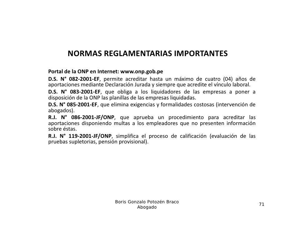 NORMASREGLAMENTARIASIMPORTANTESPortal de laP t l d l ONP en I tInternet: www.onp.gob.pe                             t   ...