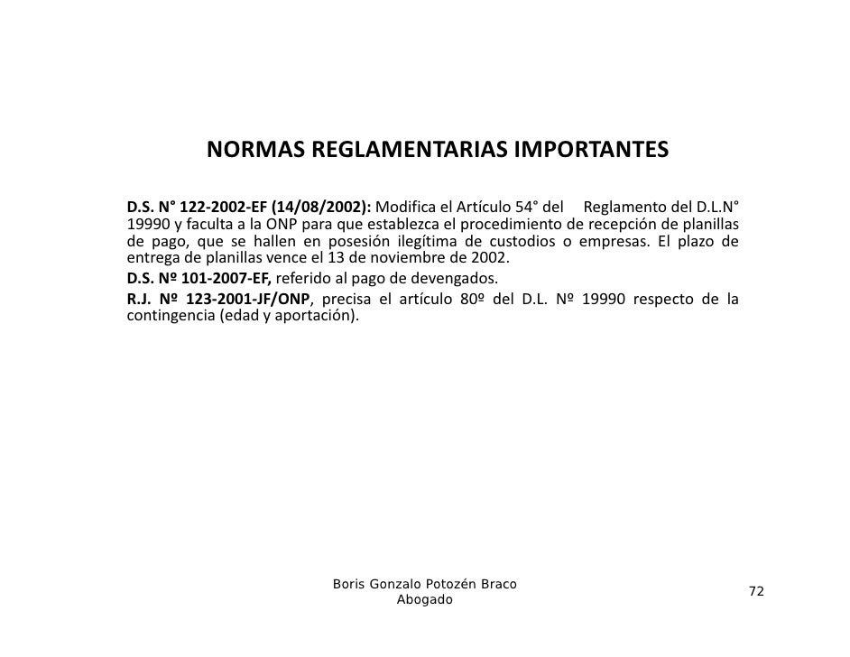 NORMASREGLAMENTARIASIMPORTANTESD.S. 122‐2002‐EF (14/08/2002):D S N° 122 2002 EF (14/08/2002) Modifica el Artíc lo 54° de...