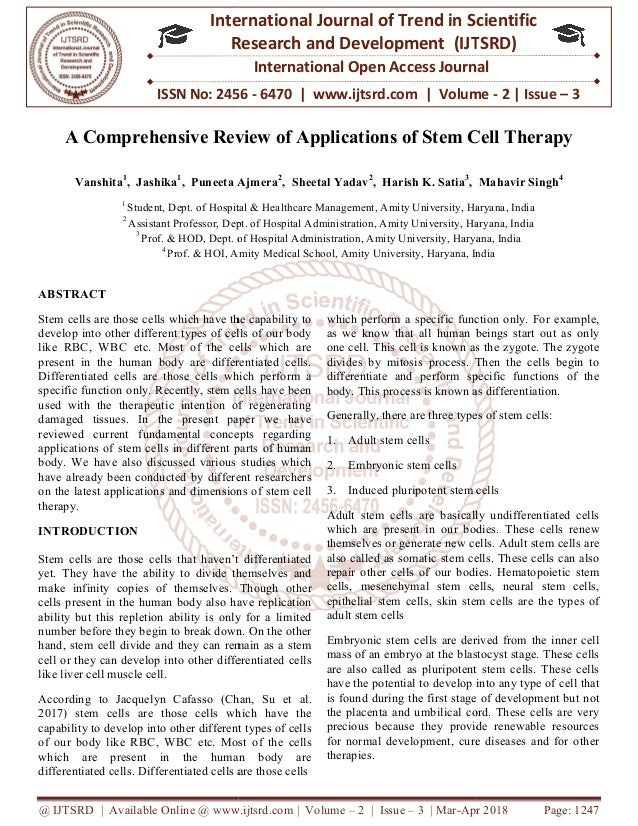 9ef9bc376 A Comprehensive Review of Applications of Stem Cell Therapy
