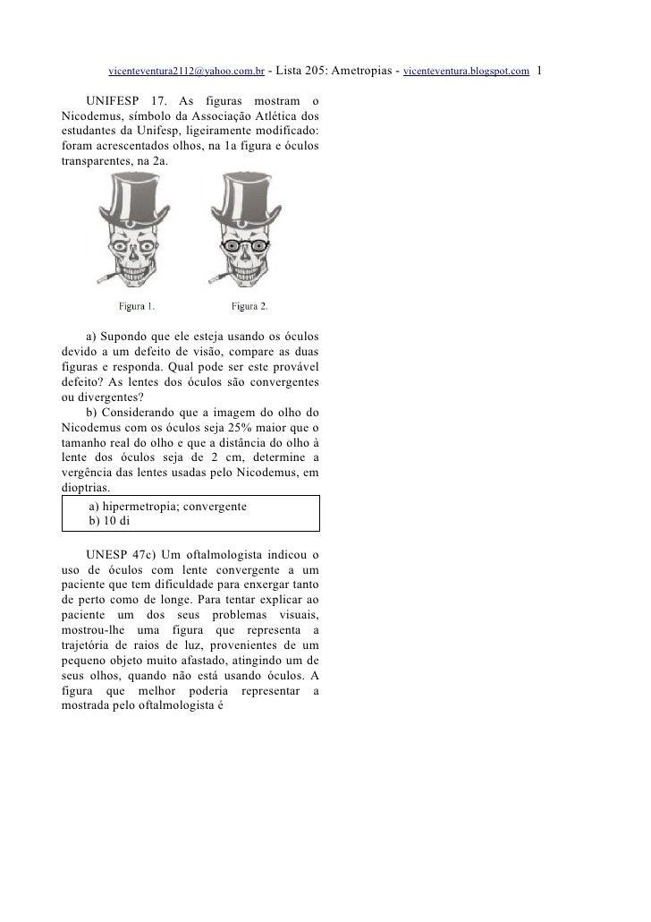 vicenteventura2112@yahoo.com.br   - Lista 205: Ametropias - vicenteventura.blogspot.com 1       UNIFESP 17. As figuras mos...
